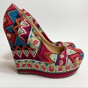 Olsenboye Boho Tapestry Design Wedge Heels